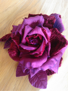 Each flower is hand crafted using silks and velvets we dyed at the beginning.