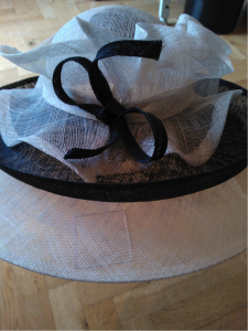 Large black and white double brimmed hat WAS £395  NOW £150