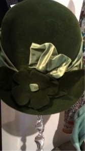 This lovely peach bloom felt hat with silk taffeta trim is great for this winter.
