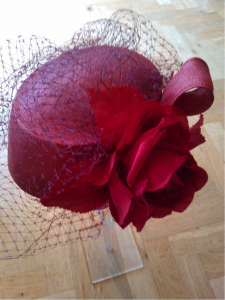 Small bright red pill box with rose and veil, very vintage looking WAS £345, Now £75