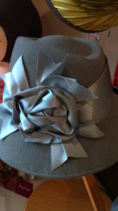 Duck egg blue wool felt hat with vintage ribbon trim..