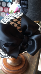 Hounds tooth check felt with vintage satin ribbon trim..