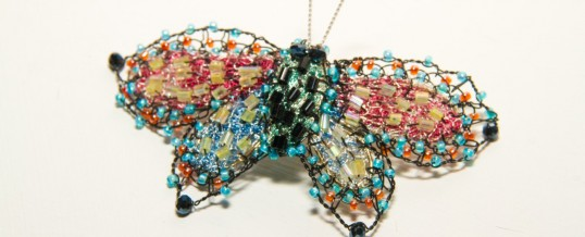 Embroidered jewelled brooches by Susan Horth